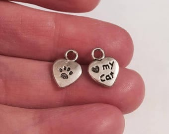 Antique Silver Love My Cat Charms 10 QTY