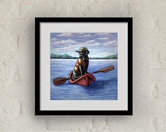 "Framed ""Kayak Ride"" Print Labrador Retriever Art 16""x16"""