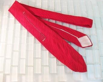 50s Art Deco Red Silk Skinny Tie Mad Men - Red Mod Skinny Tie 100% Silk Crepe