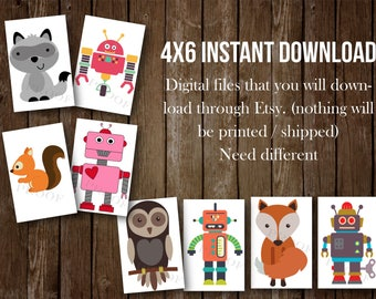 4x6 Instant DIGITAL FILES- Robots and woodland animals, twins, joint baby shower, decor, decoration