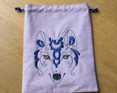 Swirly Wolf Drawstring Dice Bag, Smokers Bag, Knitting Bag, Jewellry Bag, E-reader Bag. 18 by 24 cm (7 by 9,4 inch)