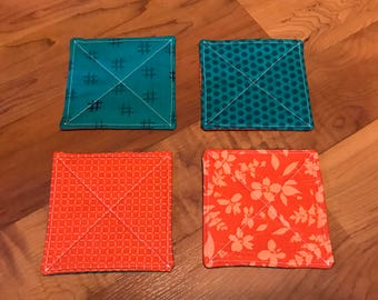 Quilted Coasters - set of 4 - teal and orange - modern