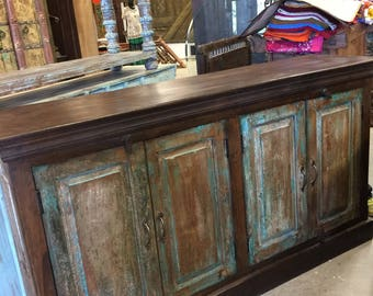 Antique British Fort Teak Colonial Sideboards Chest Wood Console Buffet Storage Cabinet Media Chest