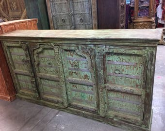 Antique Hand Carved Huge Vanity Chest Old World Spanish Colonial Green Sideboards TV Console Buffet Storage Cabinet Shabby Chic