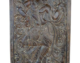 An Abode to Joy - Vintage Hand Carved Fluting Krishna Carving Wall Sculpture , Panel, Barn Door, Yoga, Meditation, Spiritual Zen Decor