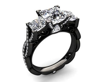 Moissanite Ring 1.50 Carat Forever One Princess Cut Moissanite Three Stone Ring In 14k or 18k Black Gold CF22MOISBK
