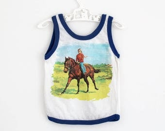 Vintage cotton tank vest with horse motif and blue trim, by Telsalda of London, approx age 9-12 months