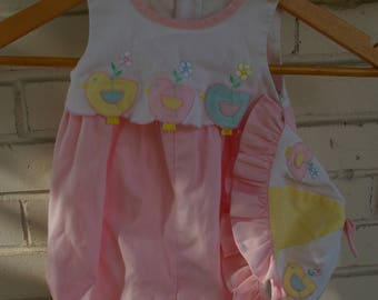90's Pink Baby Romper with Birds and Matching Hat- Size 6-9 months