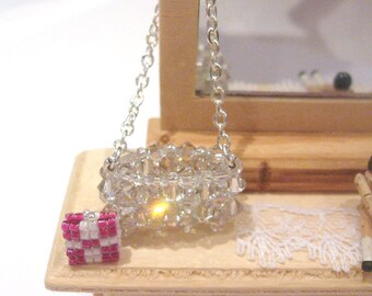 dollhouse   purse handbag crystal  silver  plated chain 12th scale dollhouse  miniature