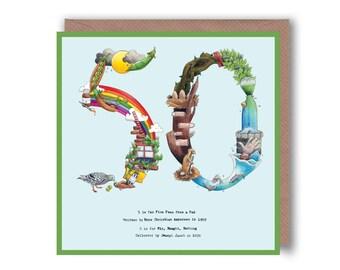50th Birthday Card , 50th Card,Birthday cards, Birthday 50 Card, Age 50 Card, Age Cards, Number 50 Card, 50th Anniversary Card Golden