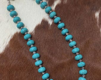 Turquoise Blue Magnesite and Silver Necklace