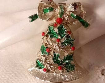 Vintage Gerry's Christmas Bell Pin Shiny Gold Tone Green Enamel Red Holly Berries 1970s