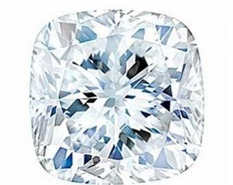 8.5mm Cushion Moissanite Forever One (DEF color)  DEW is 2.80 (Diamond Equivalent Weight)