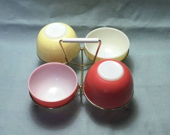 Pyrex JAJ Party Bowl Set. Only Made in 1964. Red and Yellow.