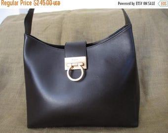 15% SUMMER SALE Vintage large Salvatore Ferragamo brown leather Gancini Gusset Kelly leather shoulder bag 90 s