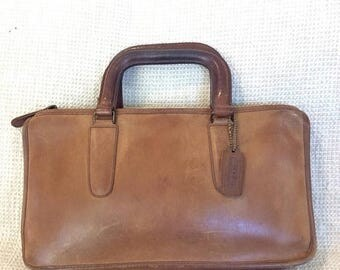 15% SUMMER SALE Vintage COACH tan leather briefcase brief 70s bohemian