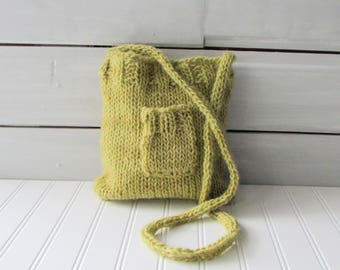 Hand Knit Purse Green Cross Body Purse Teen Purse Ladies Purse