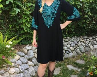 Hippie Dress, Dress, Dresses, Tunic Dress, Western Dress, Boho Dress, Black with turquoise,  S M 2X 3X, V Neck, Bell Sleeve