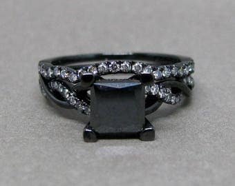 1.55ct Black Princess Cut Diamond Engagement Ring Bridal Set 14k Black Gold