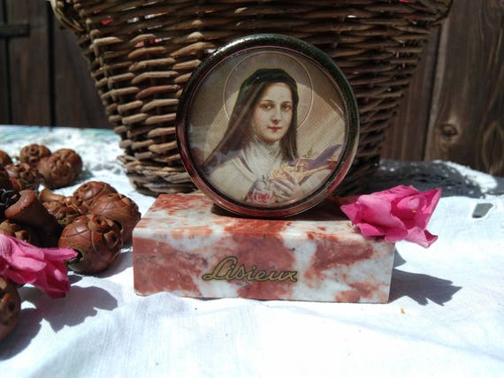 Saint Therese Table Frame on Marble French Religious Souvenir I shall spend my time in Heaven doing Good on Earth #sophieladydeparis