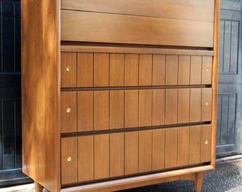 Mid Century Modern Highboy Dresser by Kroehler Furniture