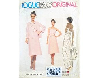 "Vintage Vogue Paris Original 1858 Molyneux Summer Linen Cotton Jacket, Belted Mid or Maxi Dress Sewing Pattern Size Bust 32.5"" UK 10"