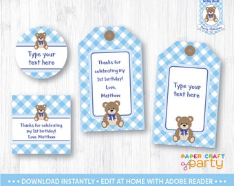 Teddy Bear Picnic Gift Tags - Printable Teddy Bear Hanging Gift Tags - Favor Tags - Blue - Instant Downloading Edit and Adobe Reader TB10