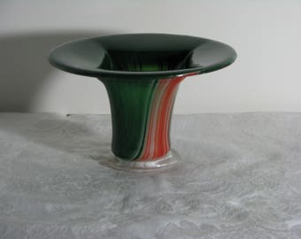 Green / Red / Orange / White Round Fused Glass Vase