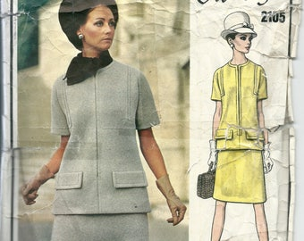Vogue Sewing Pattern 2105, Paris Original GIVENCHY, Vintage 1969 Two- Piece Dress, Size 10