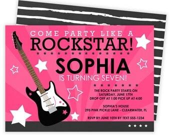 Rockstar Invitation, Rockstar Party, Rock Star Invitation, Rockstar Invite, Rockstar Birthday, Rockstar Birthday Invitation, Rock Star   295