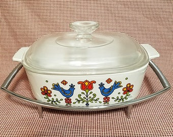 Corning Casserole  2 Quart Square Baking Dish (A-2-B) Lid (A-9-C) Cradle (P-9-M-1) Country Festival