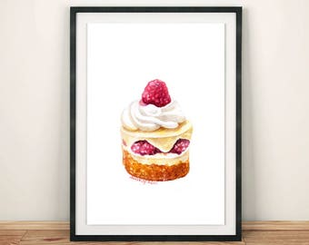 Raspberries Mini cake Cream Sweet dessert Food print Watercolor painting Fine art Home decor Kitchen art Illustration