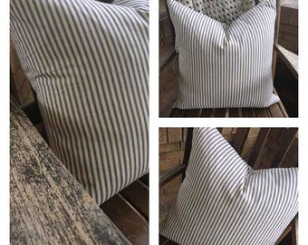Ticking Stripe Pillow Cover/Farmhouse Pillow/Farmhouse Stripe/Blue Stripe - Choose Your Size