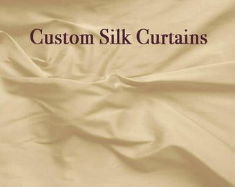 Beige curtains, Custom curtain panels, silk drapes, Pure silk, window curtains, Curtains, curtain panels-1 panel-choose size and style-SLDP4