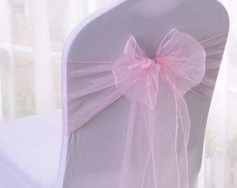 25x Pink Organza Chair Sashes Bow  Cover for Wedding Engagement Event Party Reception Ceremony Bouquet