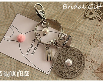 Bridesmaid Gift Bridesmaid Keychain, Maid of Honor Keychain, Flower Girl Keychain (KC65)