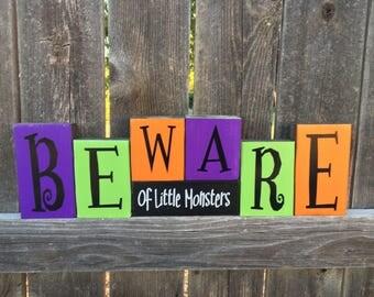 Beware of little monsters wood blocks, Halloween blocks