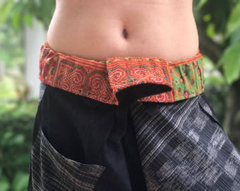 SR0026 Samurai pants with Unique Hilltribe fabric Wrap Around