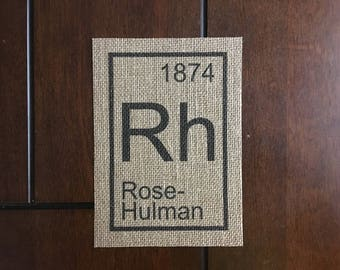 Rose-Hulman Element on Burlap, 5in x 7in (Unframed)