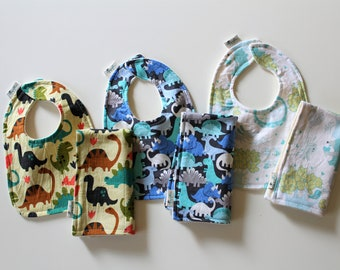 Boys Baby Bib and Burp Cloth Set, Newborn Gift, Baby Shower Gift Set, Organic Cotton