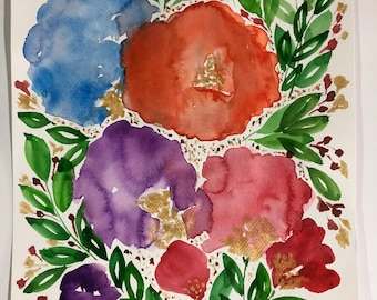 "8-1/2 x 11-1/4"" Hand painted flowers - Original Painting"