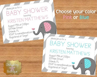 Elephant Baby Shower Invitation Pink or Blue