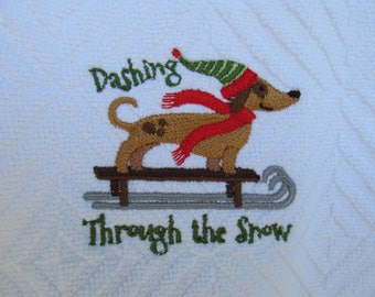 Embroidered Dashing Through the Snow Dachshund Hand Towel