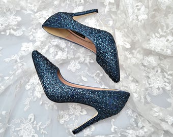 Swarovski Crystal Glitter Bridal High Heel Stiletto Corset Luxury Navy Blue Montana Leather Pump