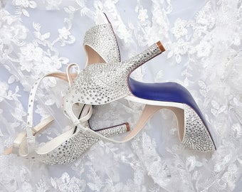 Swarovski silver clear and metallic silver crystal wedding bridal peeptoe ankle strap high heel sandals with royal blue sole
