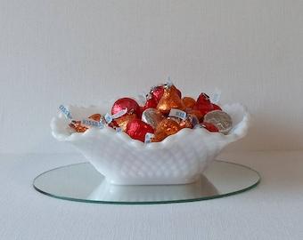 Vintage Square Milk Glass Ruffled Edge Diamond Pattern Bowl