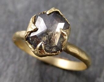Fancy cut salt and pepper Diamond Solitaire Engagement 18k yellow Gold Wedding Ring Diamond Ring byAngeline 1045