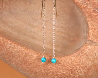 Gold dangle earrings,  Long gold and turquoise earrings / Simple gold earrrings / Gold chain earrings