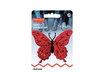 Red beads, fusible Butterfly embroidered design