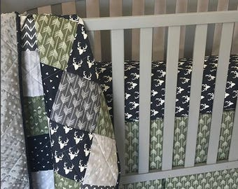 Baby Boy Bedding Set / Woodland baby bedding / Woodland quilt / Navy, Gray and Green Baby Bedding / Deer / Buck / Arrows / Minky Quilt
